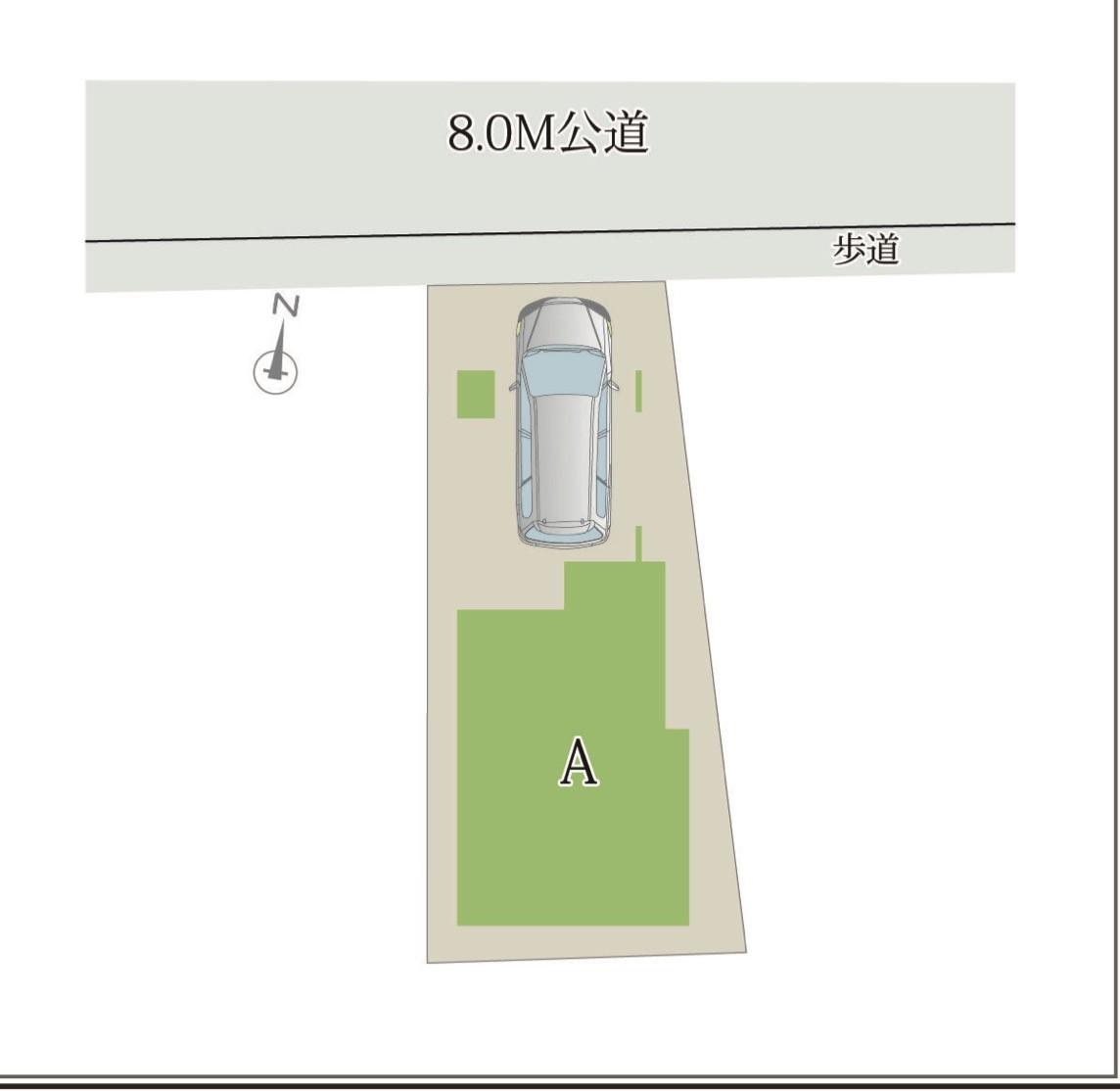 配置図、さいたま市中央区新中里1丁目 新築戸建4480万円 <仲介手数料無料